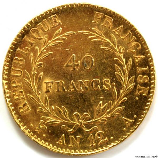Consulat 40 Francs AN 12 Paris