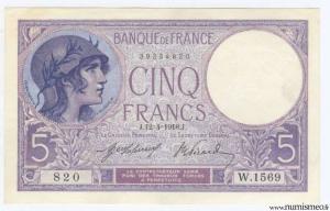 5 Francs Violet 12-4-1918
