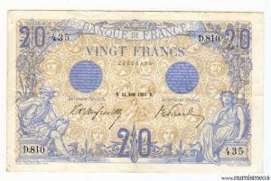 20 Francs Bleu Type 1905 31 Aout 1906