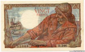 20 Francs Pêcheur 9 2 1950