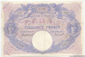 50 Francs Bleu et Rose 15 9 1916