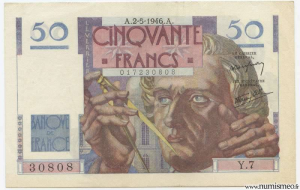 50 Francs Le Verrier Type 1946, 2 5 1946