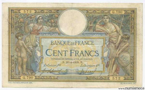 100 Francs Luc Olivier Merson Type 1906 'Avec LOM', 20 4 1909