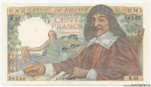 100 Francs Descartes - Type 1942, 7 1 1943