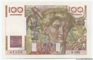 100 Francs Jeune Paysan Type 1945 , 12 10 1950