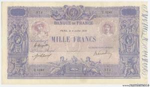 1000 Francs Rose et Bleu Type 1889, 4 07 1919