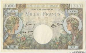 1000 Francs Commerce et Industrie Type 1940, 13 07 1944
