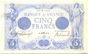 5 Francs Bleu 10.10.1913