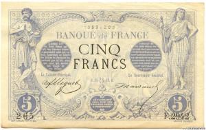 5 Francs noir 25.7.1873