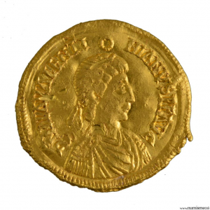 Valentinien III solidus frappé à Ravenne imitation barbare