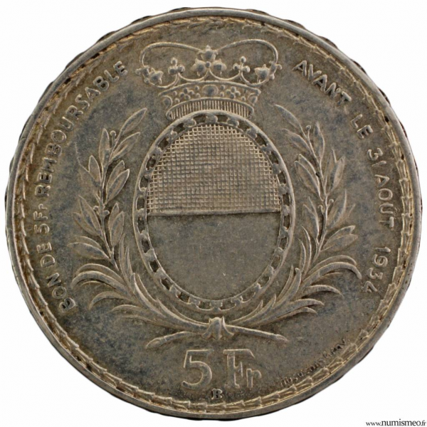 Suisse Fribourg 5 francs 1934