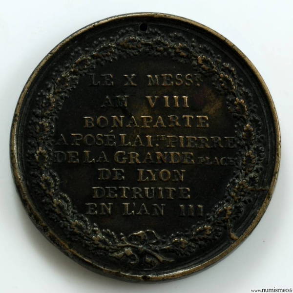 Napoléon Bonaparte 1er Consul Médaille pour la pose de la premiere pierre de la place Bellecour