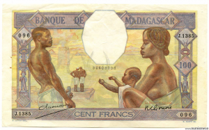 Madagascar 100 F (ND) signé GONON - DEJOUANY