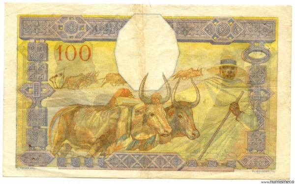 Madagascar 100 F (ND) signé CHAUDUN- DEJOUANY
