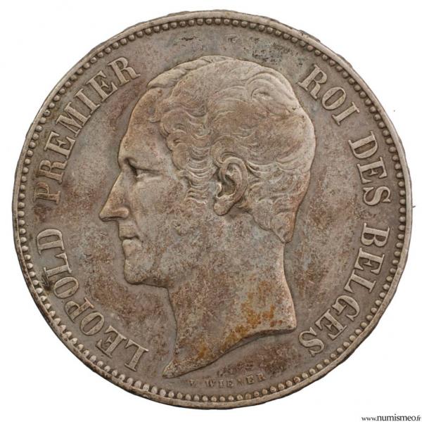 Belgique module 5 francs 1853
