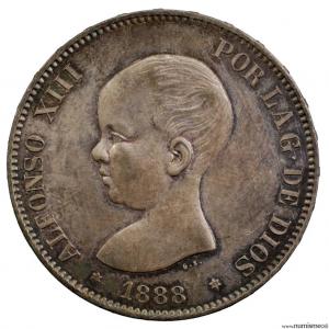 Espagne 5 pesetas 1888