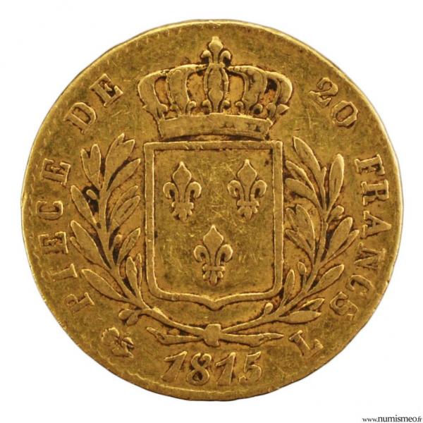 Louis XVIII 20 francs 1815 Bayonne