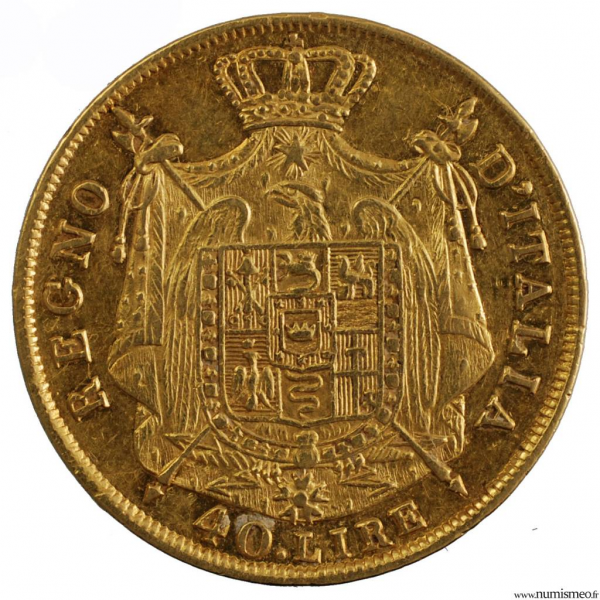 Royaume d'Italie 40 lire 1814 Milan Napoleon I