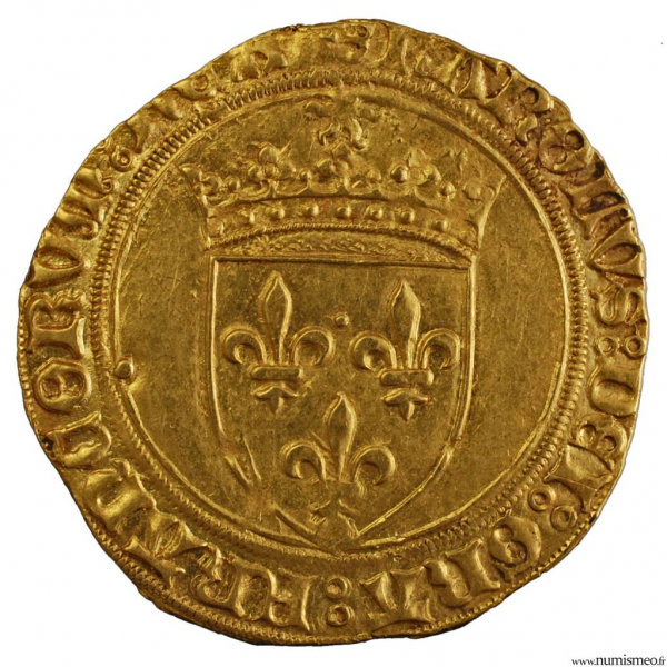 Charles VIII écu d'or au soleil frappé à Saint-Lô