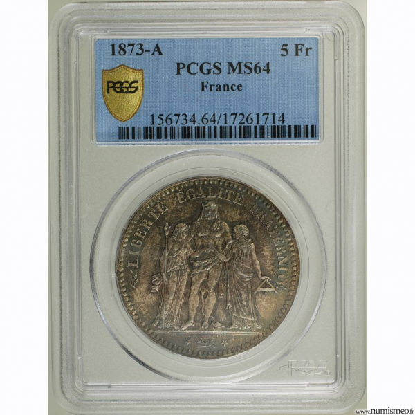 5 Francs Hercule 1873 PCGS secure plus MS64