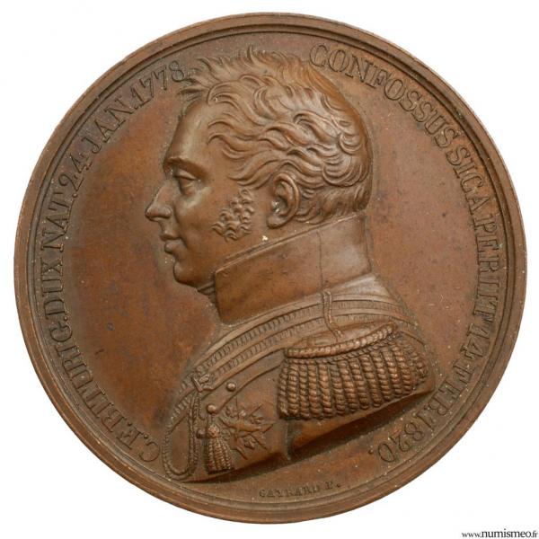 Médaille pour la mort du Duc de Berry