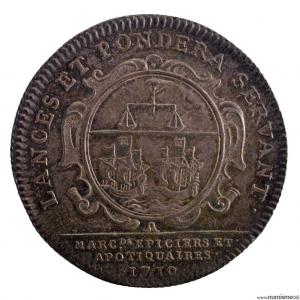 Louis XV AR jeton 1710 corporation de Paris des épiciers apothicaires