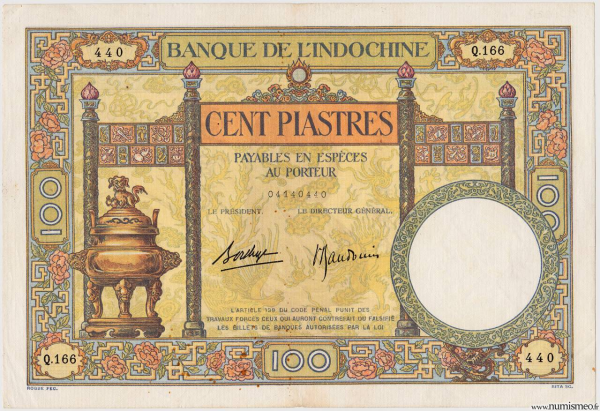 Indochine 100 piastres type 1927