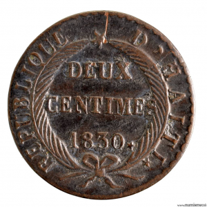 Haiti 2 centimes 1830 an 27