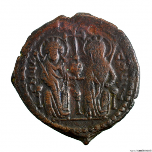 JUSTIN II Æ Follis Antioch mint
