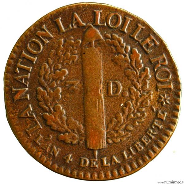Constitution 3 deniers type Francais 1792 Strasbourg