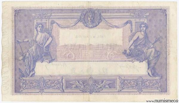1000 Francs Rose et Bleu Type 1889, 2 08 1919