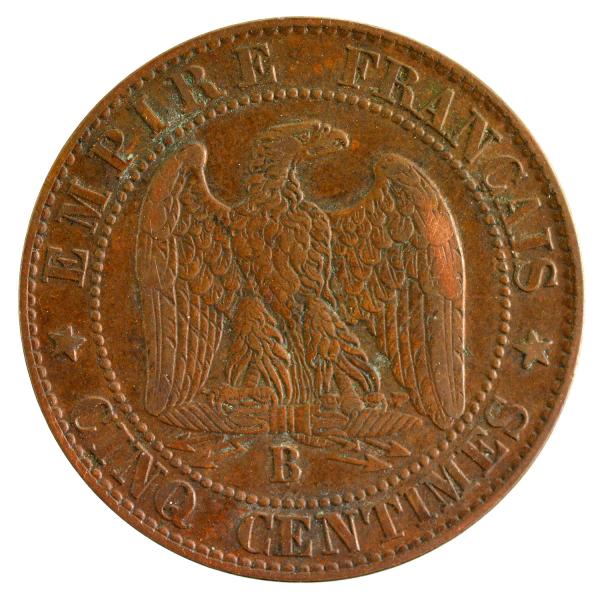 Napoleon III 5 centimes 1855 Rouen Ancre