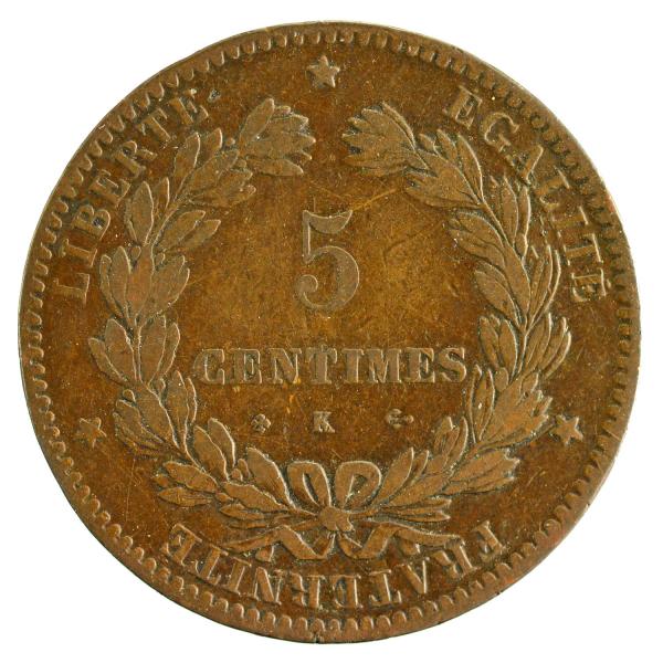 III République 5 centimes Ceres 1873 Bordeaux