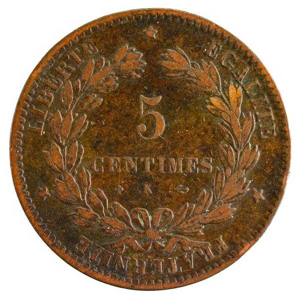 III République 5 centimes Ceres 1877 Bordeaux