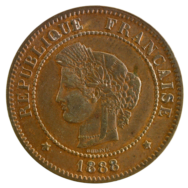 III République 5 centimes Ceres 1888 Paris