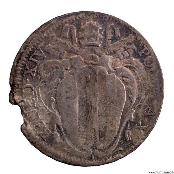 Etats Pontificaux Benoit XIV 2 Carlini 1752 X