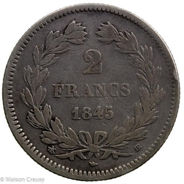 Louis Philippe AR 2 francs 1845 Strasbourg
