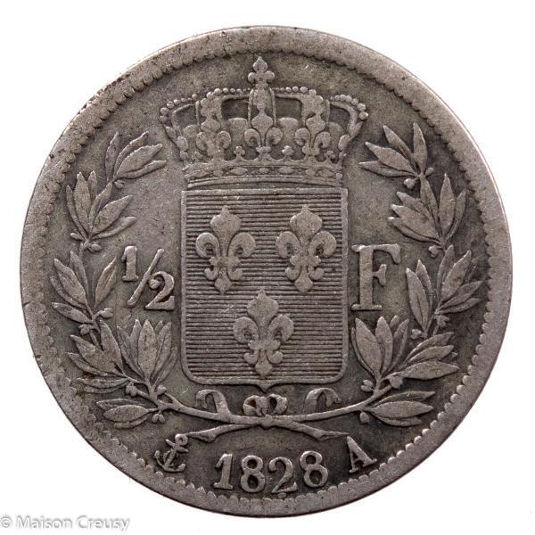 Charles X AR Demi franc 1828 Paris