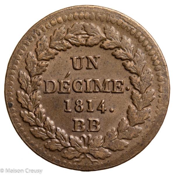 Obsidional coin decime 1814 Strasbourg
