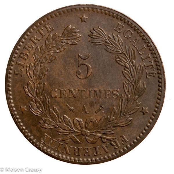 Third Republic 5 centimes Ceres 1882 Paris