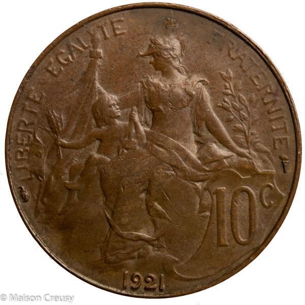 Third Republic 10 centimes 1921