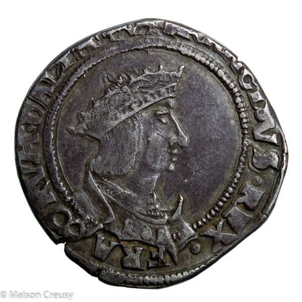 François I the Father and Restorer of Letters AR Teston du Dauphiné 4th type Grenoble mint