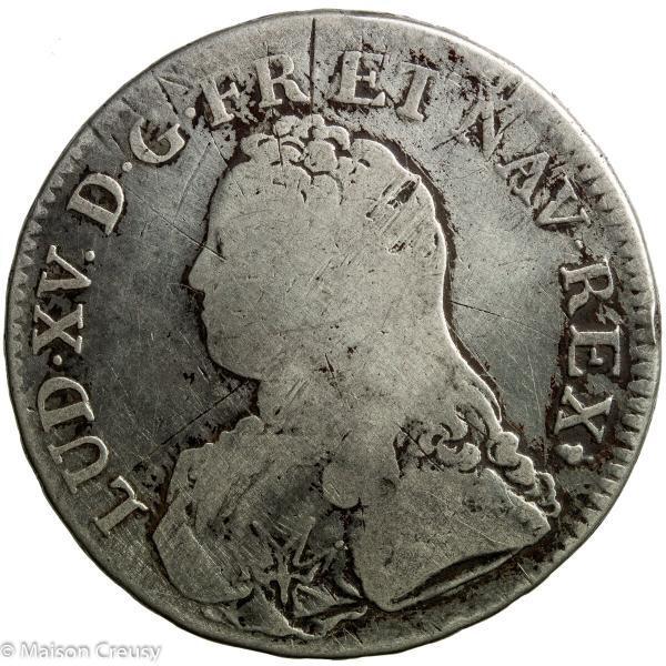 Louis XV AR écu aux branches d'olivier 1728 Reims