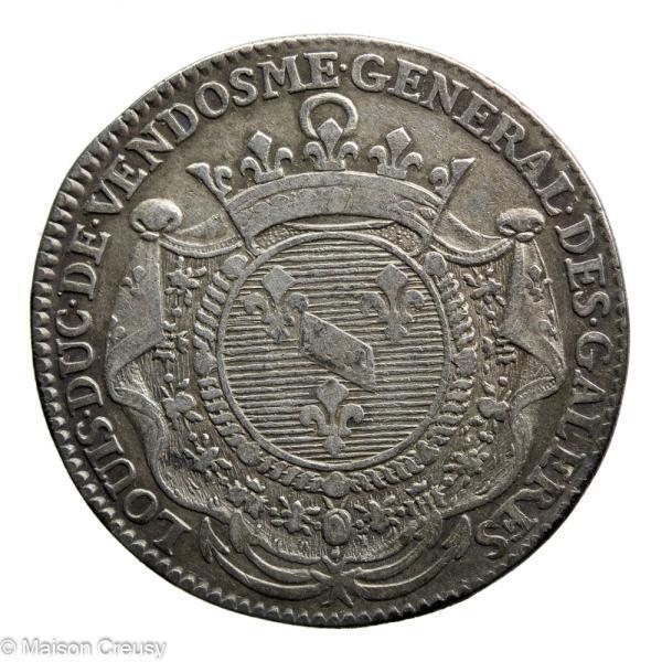 Louis XV jeton 1702 Louis de Vendôme général des galères