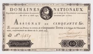 Assignat 50 livres 31 aout 1792