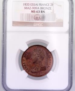 Henri V 2 francs 1833 pattern NGC MS63 BN