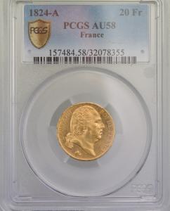 Louis XVIII 20 Francs 1824 Paris PCGS AU58
