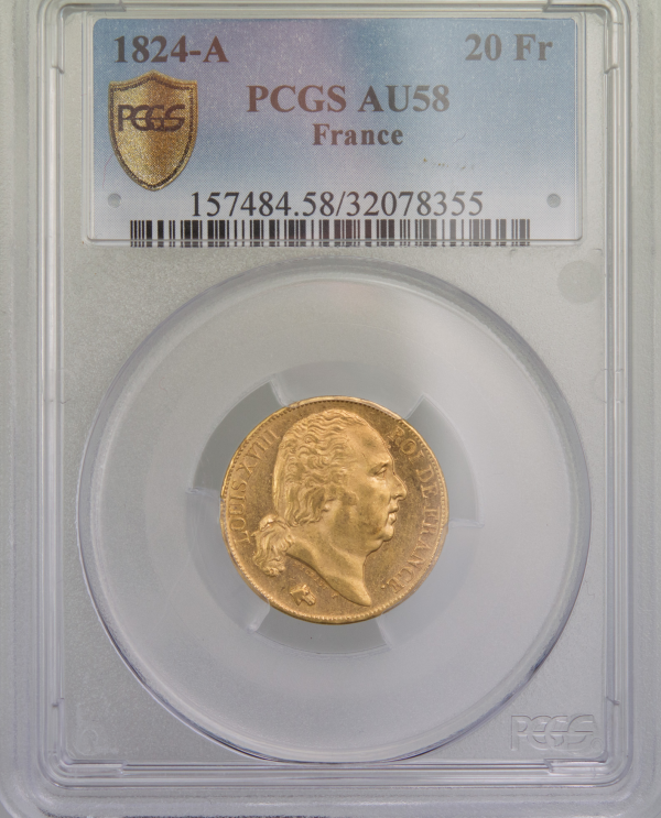 Louis XVIII 20 Francs 1824 Paris PCGS AU58