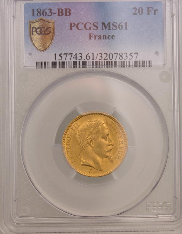 Napoléon III 20 Francs 1863 Strasbourg PCGS MS61