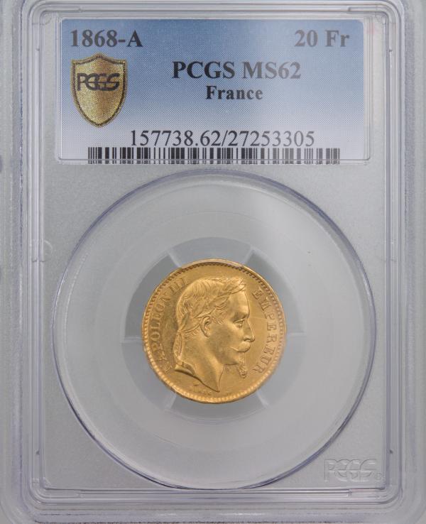 Napoléon III 20 Francs 1868 Paris PCGS MS62